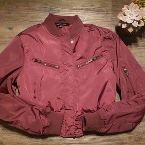 EUC Burgundy cropped bomber jacket